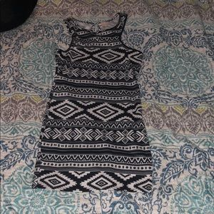 Tribal print black and white dress